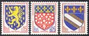 France 1962 French Towns Coats-of-Arms/ Heraldry/ Flowers/ Lions/ Art/ Design 3v set (n41767)