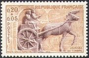 France 1963 Stamp Day/ Horses/ Roman Post Chariot/ Transport/ Animals 1v (n42476)
