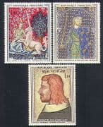 France 1964 Art  /  Paintings  /  Unicorn  /  Tapestry  /  Weaving 3v set (n32997)