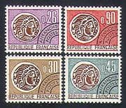 France 1964 Coins  /  Money  /  Commerce  /  Pre-cancel 4v set (n33077)