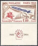 France 1964 Rocket/ Space/ Horses/ Communication/ Radio/ StampEx 1v+lbl (n24229)