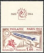 France 1964 Rocket/ Space/ Horses/ Communication/ Radio/ StampEx 1v + lbl (n24230)