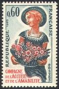 France 1965 Friendship & Welcome Campaign/ Flowers/ Girl /Bouquet/ Nature/ People 1v (n42472)
