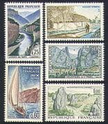 France 1965 Tourism  /  Boats  /  Buildings  /  Windmill  /  River  /  Monoliths  /  Views 5v set n32929