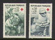 France 1966 Red Cross  /  Soldiers  /  Nurse 2v set (n20398)