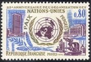 France 1970 UN 25th/ United Nations/ Buildings/ Architecture/ Microscope/ Peace/ Progress 1v (n43319)