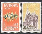 France 1972 Europa  /  Communications  /  Cathedral  /  Buildings  /  Animation 2v set (n34762)