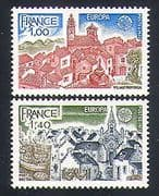 France 1977 Europa  /  Buildings  /  Fishing Boats  /  Church  /  Architecture 2v set (n33075)