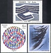 France 1980 Art/ Paintings/ Artists/ Abstract/ Modern/ Contemporary 3v set (n42028)