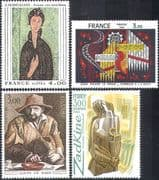 France 1980 Art/ Paintings/ Sculpture/ Tapestry/ Music/ Organ/ Artists 4v set (n41968)