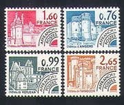 France 1980 Buildings  /  Forts  /  Chateau  /  Architecture  /  Pre-cancel 4v set (n33078)