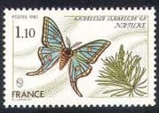 France 1980 Butterfly  /  Insect  /  Conservation  /  Environment 1v (n28774)