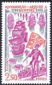 France 1980 Rochambeau/ Navy/ Ships/ Boats/ Soldiers/ Military/ Transport/ People 1v (n43381)