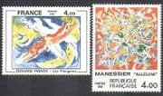 France 1981 Modern Art  /  Paintings  /  Artists  /  Abstract 2v set (n37127)