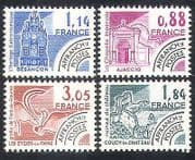 France 1981 Monuments  /  Clock  /  Painting  /  Rock Art  /  Buildings  /  Pre-cancel 4v set n40245