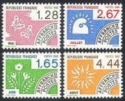 France 1986 Months  /  Butterflies  /  Flowers  /  Sun  /  Insects  /  Nature  /  Pre-cancel 4v (n40249)