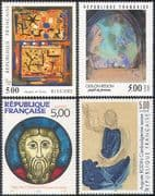 France 1990 Art/ Paintings/ Stained Glass/ Artists/ Modern/ People 4v set (n42030)