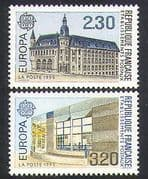 France 1990 Europa  /  Post Office Buildings  /  Architecture  /  Post  /  Mail 2v set (n37041)