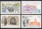 France 1990 Tourism/ Canal/ Boat/ Abbey/ Buildings/ Architecture/ Carving 4v set  (n39698)