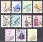 France 1992 Music  /  Musical Instruments  /  Pre-cancel  /  Guitar  /  Harp  /  Piano 11v (n40235)
