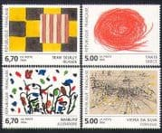 France 1993 Contemporary  /  Modern Art  /  Paintings  /  Artists 4v set (n35150)