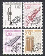 France 1993 Musical Instruments  /  Pre-cancels  /  Xylophone  /  Trumpet  /  Drum 4v set n36254