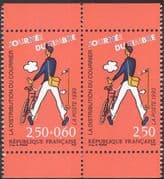 France 1993 Postman/ Bike/ Bicycle/ Stamp Day/ Cycling/ Transport 2v bklt pr (n32128)