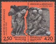 France 1993 Resistance Fighters  /  Heroes  /  Sculpture  /  Art  /  War 2v set  s-t pr (n36954)