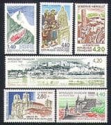 France 1993 Tourism  /  Buildings  /  Trains  /  Abbey  /  Castle  /  Architecture 6v set (n32763)