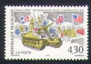 France 1994 Military  /  Second World War  /  WWII  /  Tank  /  Soldiers  /  Flags 1v (n35228)