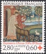 France 1994 Red Cross/ Medical/ Health/ Tapestry/ Art/ Sewing/ Craft/ Saint 1v (n43635)