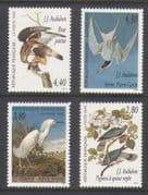 France 1995 Birds  /  Audubon  /  Buzzard  /  Pigeon 4v set  n20902