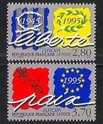 France 1995 Europa  /  Peace  /  Freedom  /  WWII  /  War 2v set n31351