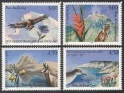 France 1997 Eagle  /  Shearwater  /  Chamois  /  Birds  /  Flowers  /  Nature  /  Wildlife 4v set n40681