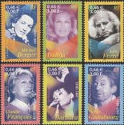 France 2001 Singers/ Music/ Entertainment/ Singing/ People/ Composers 6v set (n45931)