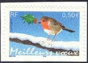 France 2003 Christmas/ Greetings/ Robin/ Birds/ Nature 1v s/a ex bklt (n44428)