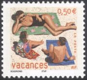 France 2003 Greetings Stamps/ Holidays/ Beach/ Children/ Woman/ Sunbathing 1v (n43825a)