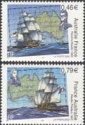 France 2003 Ships/ Boats/ Flinders/ Baudin/ Nautical/ Sailing/ Sail/ Map/ Transport 2v set( n43825e)