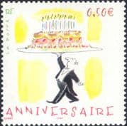 France 2004 Waiter  /  Birthday  /  Cake  /  Greetings  /  Candles  /  Animation 1v (n37367)