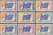 France (Council of Europe) 1963 Council Flag/ Sun/ Emblem/ Politics/ Animation 9v set (n44839)