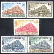 France (Council of Europe) 1977 Buildings  /  Architecture  /  Politics 5v set (n37638)