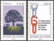 France (Council of Europe) 2010 Human Rights 60th Anniversary/ Tree/ Chain 2v set (n45920)