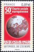France (Council of Europe) 2011 Social Charter 50th Anniversary/ Flags/ Map 1v (n45861)