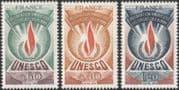 """France (UNESCO) 1975 Human Rights/ """"Flame of Freedom""""/ People/ Fire/ History/ Heritage 3v set (n44840)"""