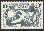French Equatorial Africa 1958 Human Rights/ Dove/ Sun/ UN/ Animation/ Birds 1v n36883