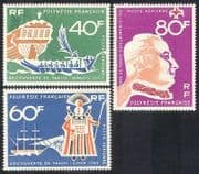 French Polynesia 1968 Ships  /  Sailing  /  Boats  /  Transport  /  Explorers  /  Cook 3v set n38730