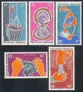 French Polynesia 1970 Pearl Diving  /  Diver  /  Pearls  /  Jewellery  /  Marine 5v set (n33620)