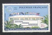 French Polynesia 1972 Commission HQ Building  /  Palm  /  Trees  /  Flags 1v (n35971)