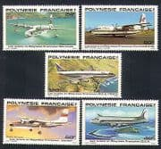 French Polynesia 1979 Planes  /  Aviation  /  Aircraft  /  Transport  /  Flight 5v set (n33377)