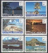 French Polynesia 1979 Tourism  /  Sunset  /  Mountains  /  Palm Trees  /  Nature 6v set (n35991)